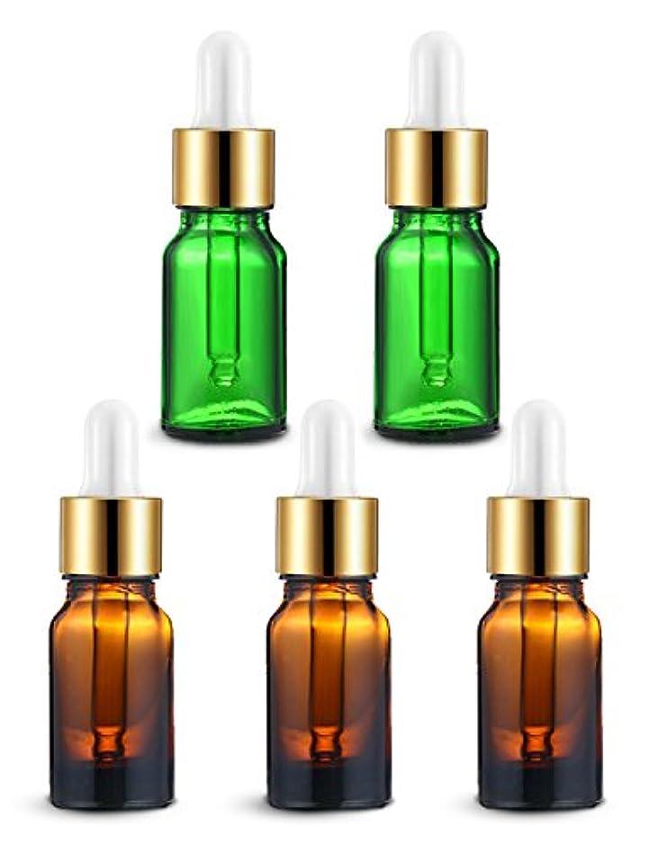 フェデレーション女将低いENERG アロマディフューザー(全機種適応) ネブライザー式 スポイト付き精油瓶 緑2個?ブラウン3個 アロマ瓶 10ml 5個セット