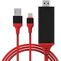 iPhone hdmi 変換 ケーブル Lightning Digital AV アダプタ2M 高画質 使用簡単iPhone iPad iPod iOS11対応