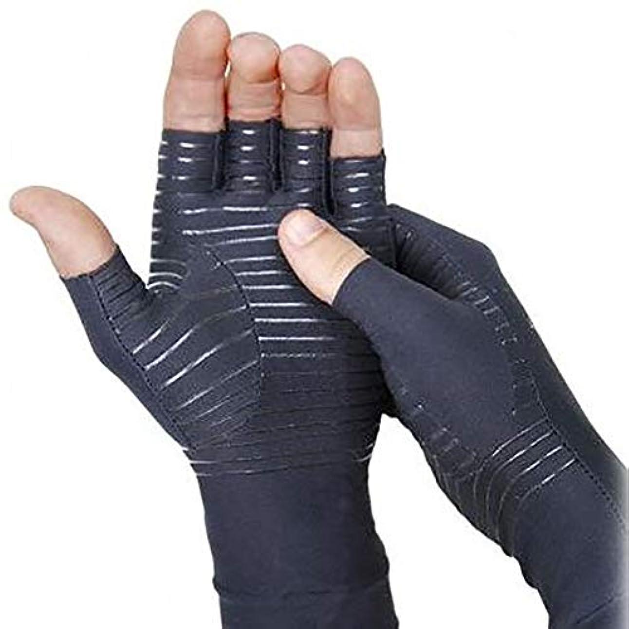 の前で中国インフラBOBORA 関節炎手袋 着圧手袋 指なし手袋 着圧引き締め 銅イオン繊維 関節ストレス 手首サポーター スライドタッチ手袋 男女共用 1ペア入り