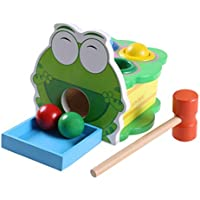 Cinhent Toys、14.5 x 14.5 x 13 cm、丈夫な木製構造の跳ねるカエルデラックスツールキット幼児作業ベンチマレット、子供の赤ちゃんの手の目の協調を促進、面白い。