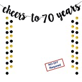 (70TH) - Cheers to 70 Years Gold Glitter Banner For Adult 70th Birthday Party Wedding Anniversary Party Decorations