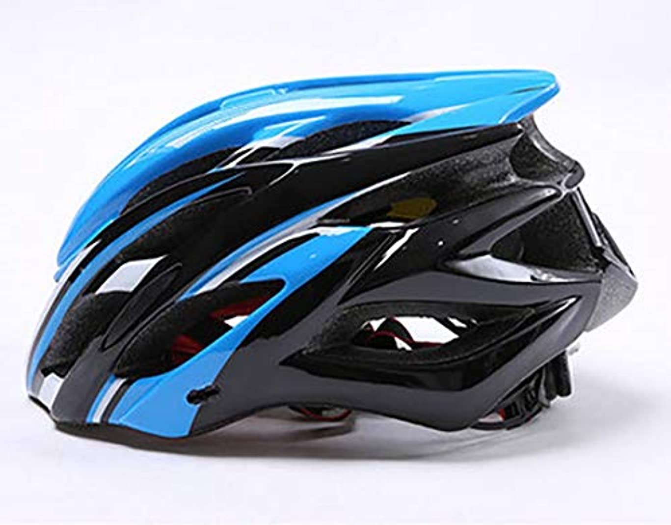 ありがたいバイバイ統治可能CAFUTY アウトドアサイクリング愛好家に適したリアテールライトライドと一体化した大人用ヘルメット自転車ライド。 (Color : Black blue)