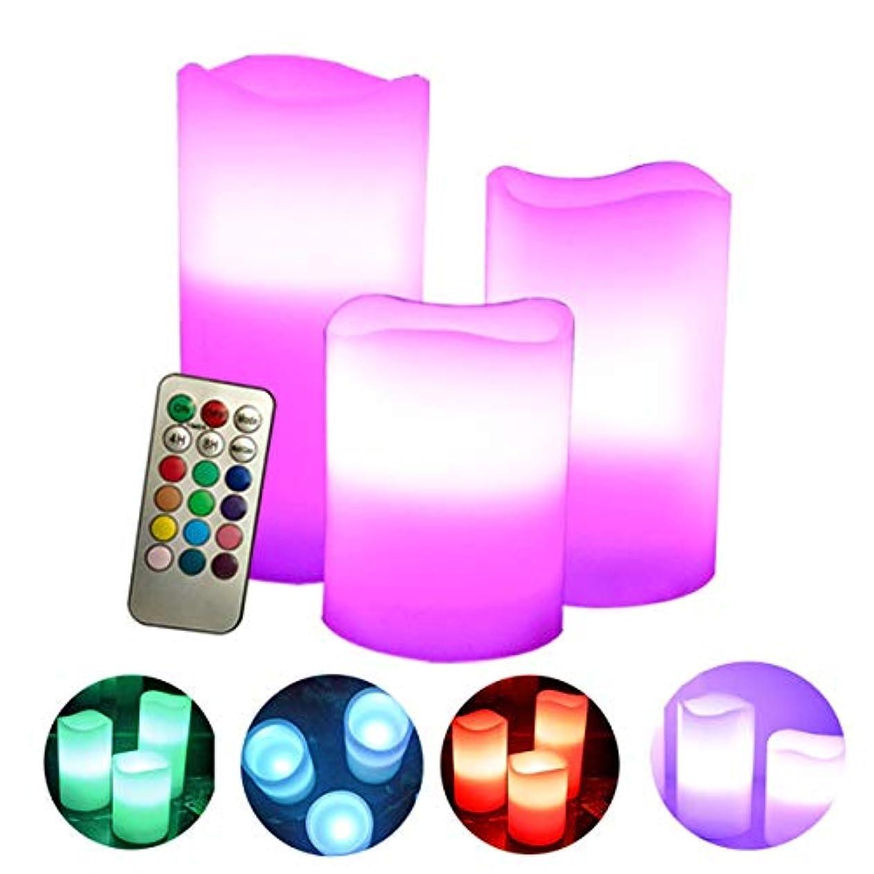 主婦野な世代フレームレスキャンドルには、18キーのリモートコントロールタイマー付きのちらつきLED炎が含まれますカラフルな電子キャンドルライト3個セット