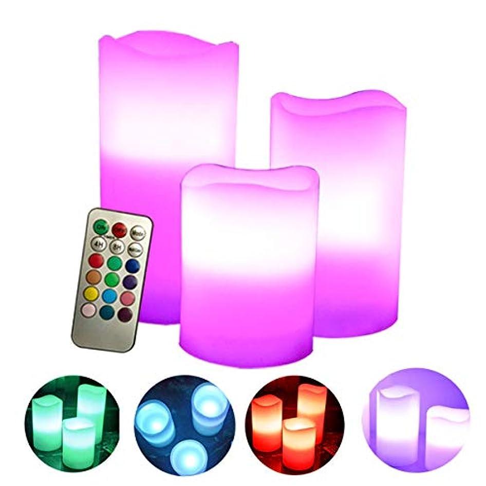 戸口振るう振るフレームレスキャンドルには、18キーのリモートコントロールタイマー付きのちらつきLED炎が含まれますカラフルな電子キャンドルライト3個セット