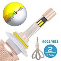 FidgetGear 9005 HB 3 80 WデュアルカラーLEDヘッドライト電球変換キット3000 K / 6000 K 11000LM