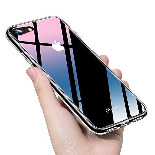 TORRAS iPhone8 ケース iPhone7ケース ガラス背面 TPUバンパー ハイブリッド 薄型 四隅滑り止め ストラップホール付き ネイキッド (クリア)
