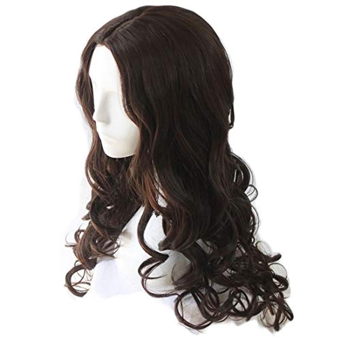 旋律的任命するクラッチJIANFU レディース ウィッグ コスプレ 長い 巻き髪 ビッグ ウェーブ 耐熱 ウィッグ (Color : Black-brown)
