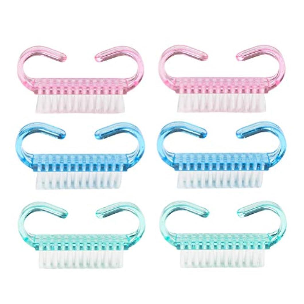 ラッチ破壊論理的Frcolor ネイルブラシ 爪ブラシ カラフル 手洗い ブラシ 快適 6個セット ランダム色