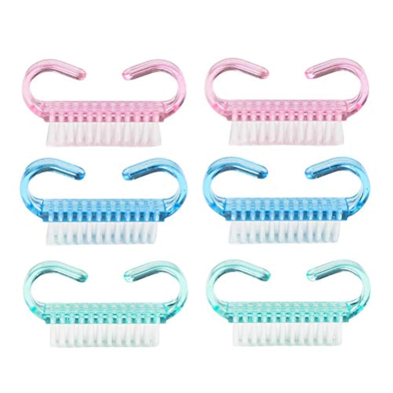 Frcolor ネイルブラシ 爪ブラシ カラフル 手洗い ブラシ 快適 6個セット ランダム色