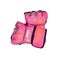 Qiyuezhuangshi001 ボクシンググローブ、成人用ハーフフィンガープロフェッショナルSanda Sandbagトレーニンググローブ、イエロー 保護 (Color : Pink, Weight : 10oz)