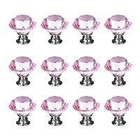 (30mm, Pink) - iQualite 12pcs Diamond Shape Crystal Glass 30mm Cabinet Door Knob Pink