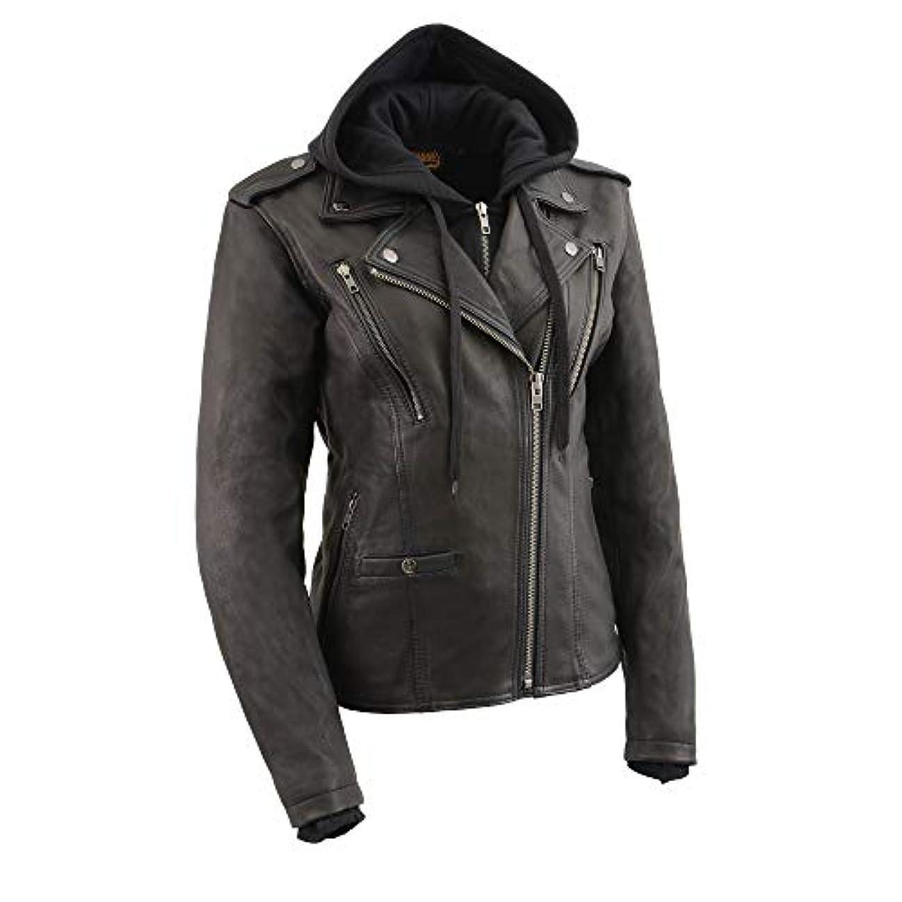 高く空白観点Milwaukee Leather レディース M/C ジャケット Mll2575 フルスリーブ内部パーカー S ブラック MLL2575