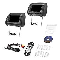 "7"" Black Car DVD/USB/HDMI Car Headrest Monitors with IR Transmitter Internal Speakers Video Games FM Transmitter"