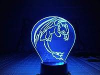 LLWWRR1 ヒックとドラゴン ナイトライト LED 3D イリュージョン USB タッチセンサー RGB 子供 ギフト 夜 フューリー テーブルランプ デスク デコレーション