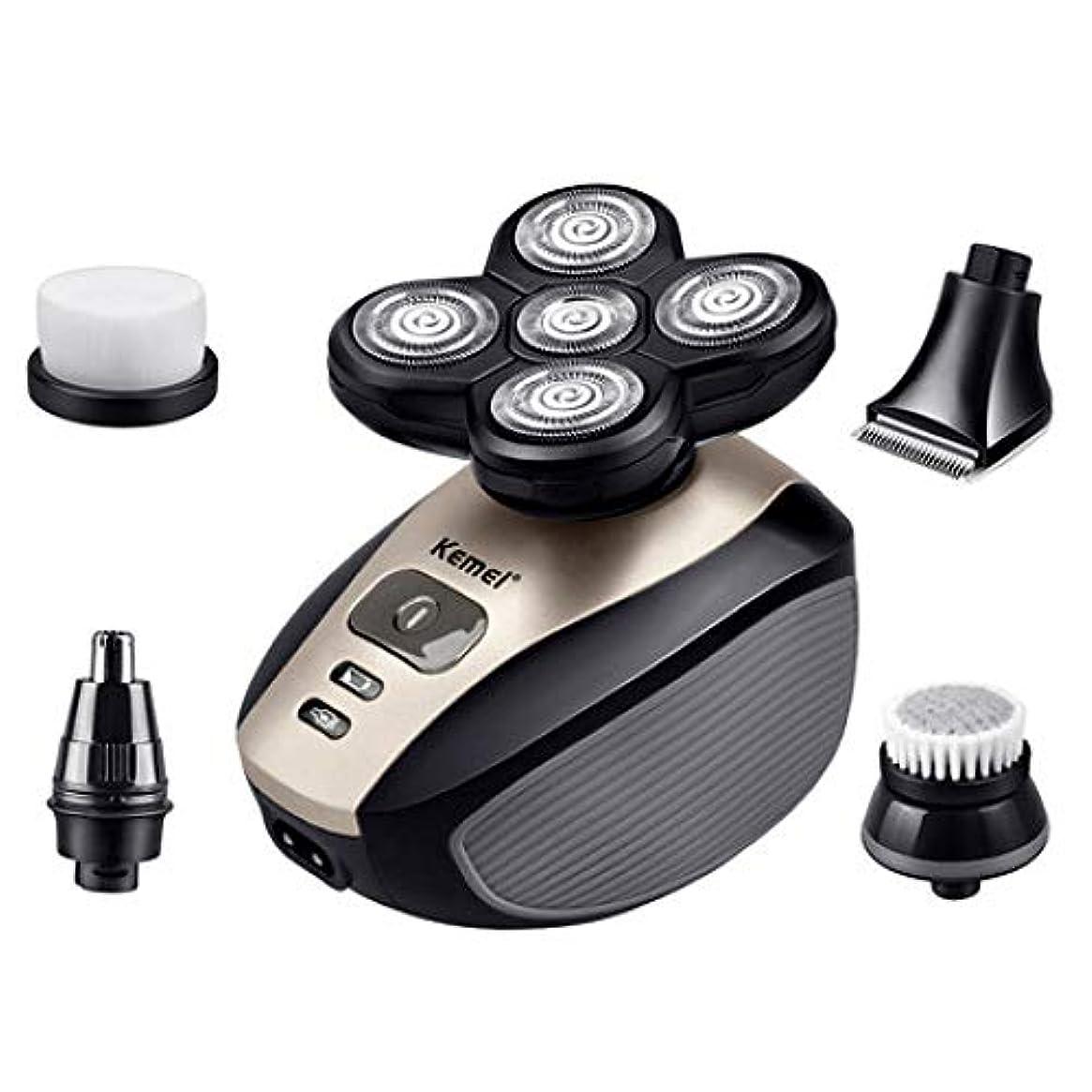 忘れっぽいめるバッテリーQINJLI 5-1 の電動ロータリー 5 頭かみそり洗濯機鼻髪設定 6 * 9 cm