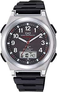 [シチズン キューアンドキュー]CITIZEN Q&Q 腕時計 電波ソーラー アナログ 10気圧防水 ウレタンベルト ブラック MD12-305 メンズ