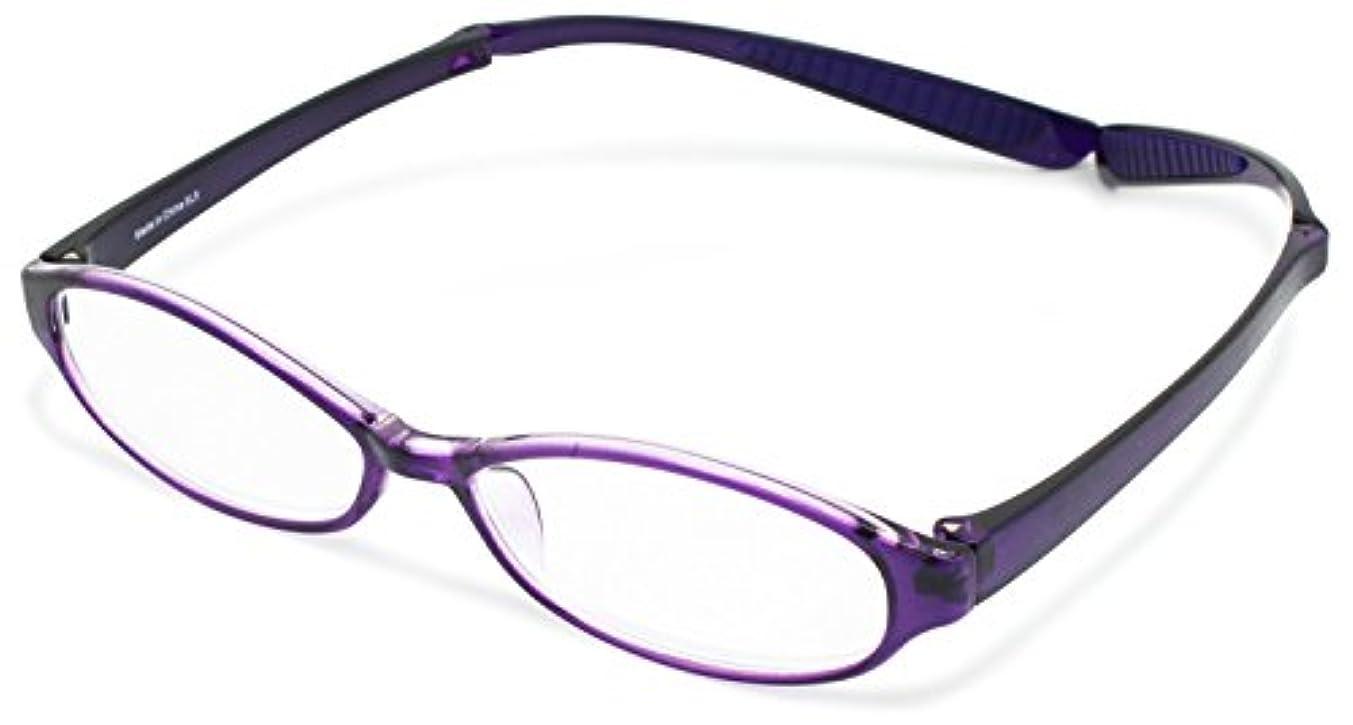 スイ幻想言語学デューク 老眼鏡 首掛け +1.5 度数 ネオクラシック ネックハグ ソフトケース付き パープル GLR-22-5+1.50