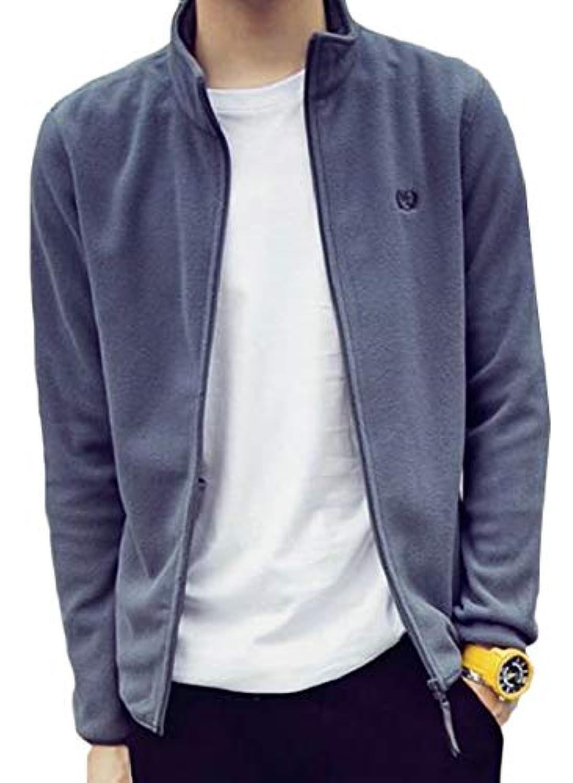 Keaac メンズ軽量フルジップアクティブフリーススタンドネックスウェットシャツジャケット
