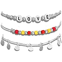 CEALXHENY Anklets for Women Colorful Beads Ankle Bracelets Alphabet Love Letter Anklets Layered Summer Beach Adjustable Sequins Chain Anklet Set Foot Jewelry