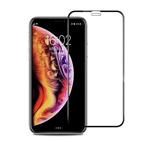 iPhone XR ガラスフィルム Amorno 3D 全面保護フルカバー 目の疲れ軽減 強化液晶保護フィルム 【日本製素材旭硝子製】 極薄0.3mm 9H硬度 指紋防止 耐衝撃 6.1インチ(iPhone XR 用)