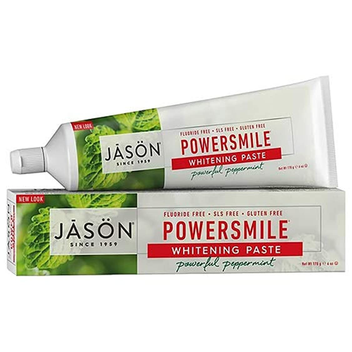 藤色ライラックテクスチャーJason Natural, PowerSmile, Antiplaque & Whitening Paste, Powerful Peppermint, 6 oz (170 g)