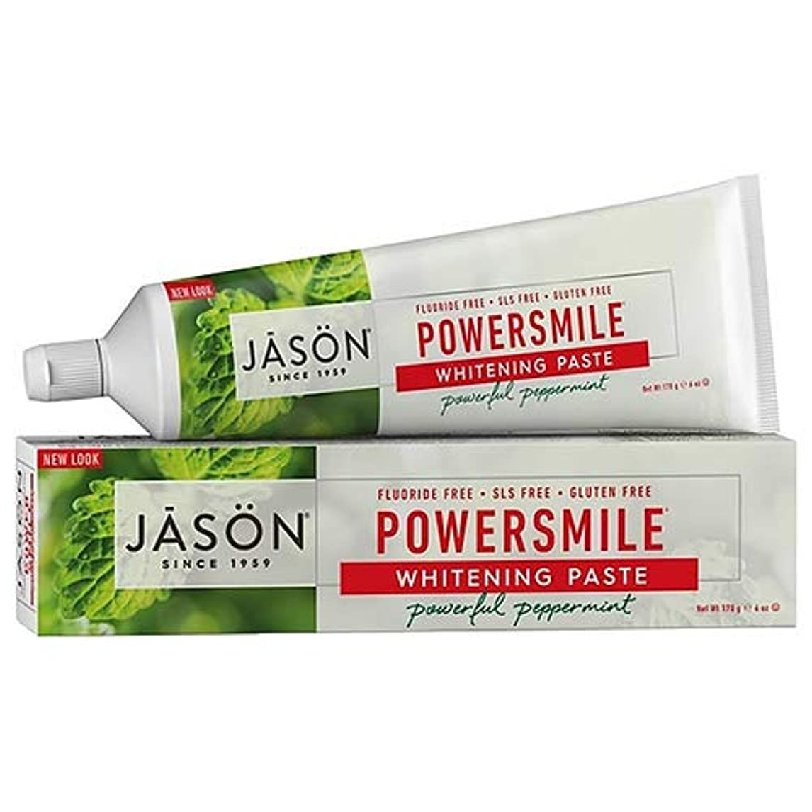 表示砂利メッセンジャーJason Natural, PowerSmile, Antiplaque & Whitening Paste, Powerful Peppermint, 6 oz (170 g)