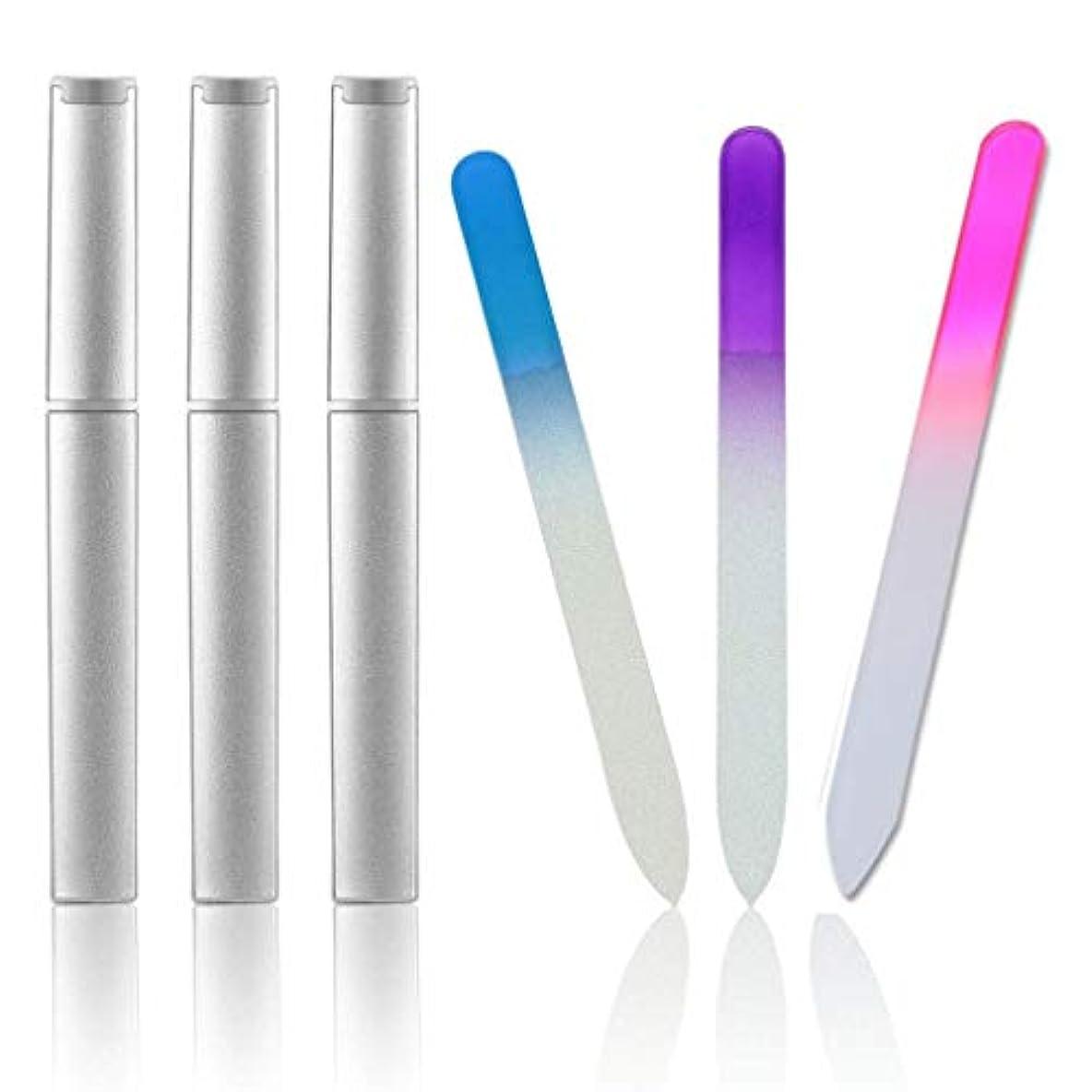 集団的マインド反抗Ant-Tree ガラスネイルファイルネイルポリッシュネイルポリッシュネイルケア用品3点セット(ピンク、ブルー、パープル)