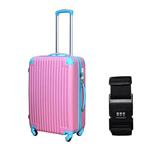 DABADA(ダバダ) 軽量 スーツケース S M Lサイズ 全8色 TSAロック ファスナータイプ キャリーバッグ キャリーケース (M, ピンク)