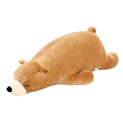 JOKnet アニマル抱き枕 ぬいぐるみ プレミアムねむねむ 抱きまくら Mサイズ 動物 りぶはあと シロクマ くま ペンギン アザラシ 寝具 かわいい ピロークッション 抱きぐるみ ギフト プレゼント 恋人 お昼寝 くま(ベージュ) M
