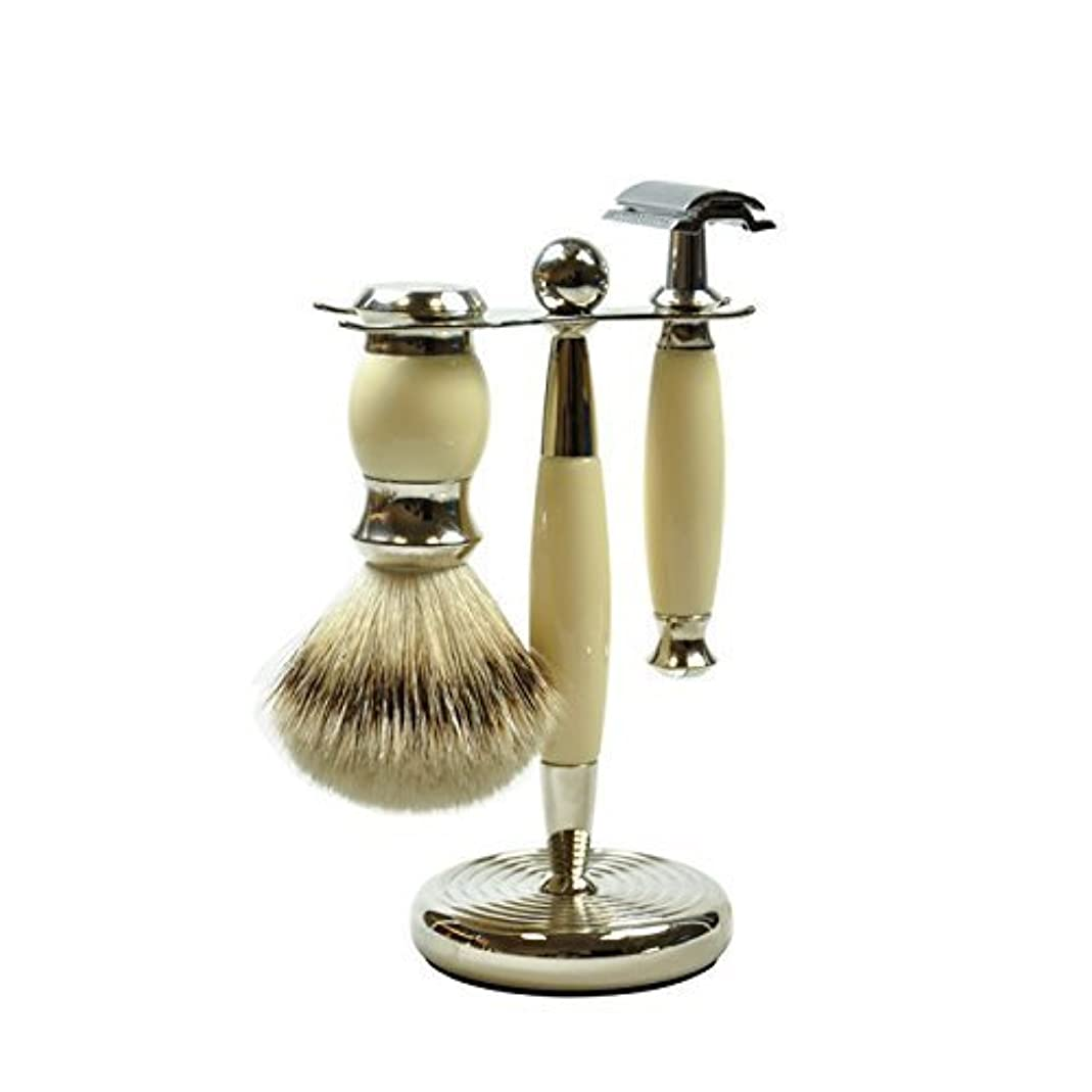 プリーツ誘惑スカープGOLDDACHS Shaving Set, Safety razor, silvertip badger hair, white/silver