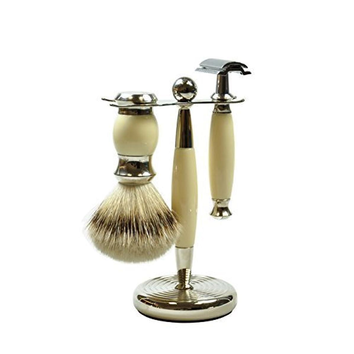 知恵抜粋書士GOLDDACHS Shaving Set, Safety razor, silvertip badger hair, white/silver