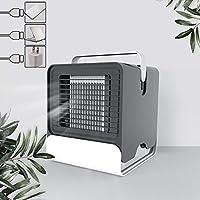 ポータブル空調ファン、デスクトップ家庭用空気クーラーミニファン、USB蒸発式サイレント清浄機冷冷却ファン、発光モード,Black