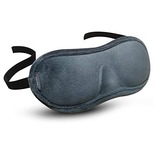 HiAir 立体型 アイマスク 遮光 圧迫感なし お鼻の形に合わせ調整可 手洗い可 収納袋付 昼寝/仮眠/旅行に最適 (大人普通サイズ・頭囲51-55cm)