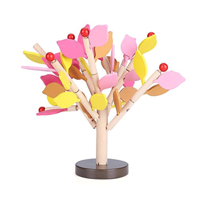 3D 子供 早期教育 面白い木製玩具 木の組み立て 挿入 葉 学習パズル 3歳以上 Yosoos8o5adv49y-01