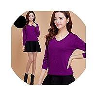 女性カシミヤセーターファッション秋カシミヤウールニットセーター固体スリムセクシーなプルオーバーコートブラウスニットセーターWa647,XX-Large,紫の