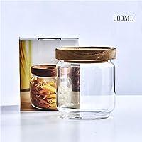 ガラス貯蔵タンク台所食糧雑貨コーヒー豆茶密封された缶透明な貯蔵タンク (サイズ さいず : 500ml)
