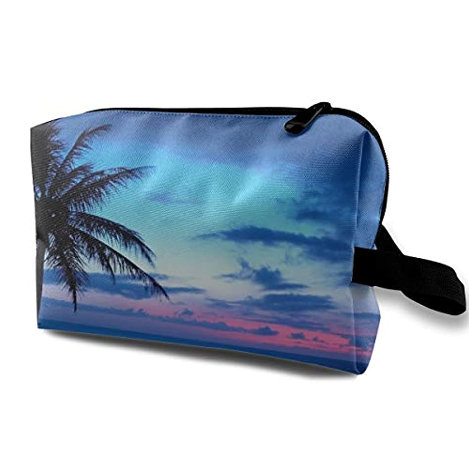 先住民説教社会主義Ocean Beach Scene With Palm Trees 収納ポーチ 化粧ポーチ 大容量 軽量 耐久性 ハンドル付持ち運び便利。入れ 自宅?出張?旅行?アウトドア撮影などに対応。メンズ レディース トラベルグッズ
