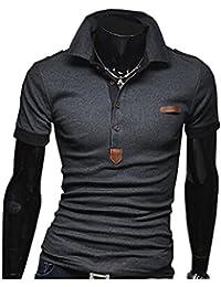 KMAZN ポロシャツ メンズ Tシャツ カットソー 長袖 半袖 ロンT エポレット ゴルフウェア トップス カジュアル コーデ 春 夏 秋 メンズ ファッション