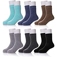 Children Wool Socks For Boy Girl Kids Toddler Thick Thermal Warm Cotton Winter Crew Socks 6 Pack