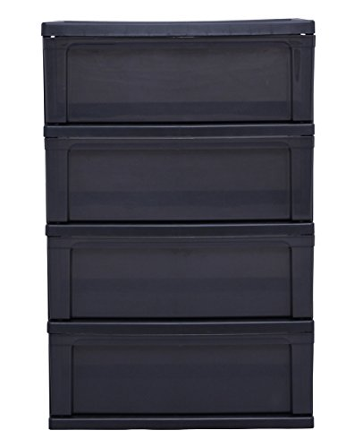 【Amazon.co.jp限定】 アイリスオーヤマ チェスト ワイド 4段 幅54×奥行40 ブラック W-544