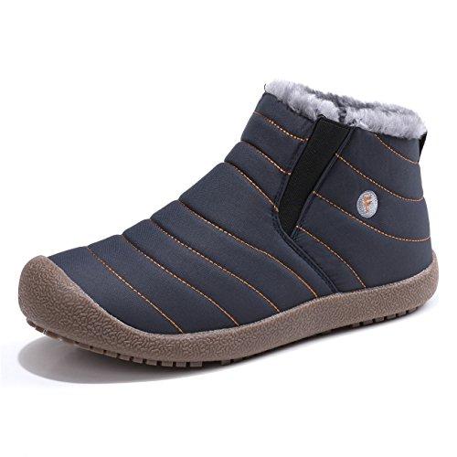 Sixspace スノーブーツ メンズ レディース ショート ブーツ スノーシューズ 防水 防寒 防滑 保暖 裏起毛 冬用 カジュアル 綿靴 雪靴 ブルー 26.5cm