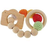 SODIAL 木製ビーズティーシングリング かわいいおもちゃガラガラ おもちゃの赤ちゃん用歯磨きアクセサリー1個 - マルチカラー - カメラ