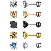 18g Stainless Steel Cubic Zirconia Stud Earrings for Women Men Cartilage Ear Piercings Jewelry Helix Tragus Screw Backs Set 5mm