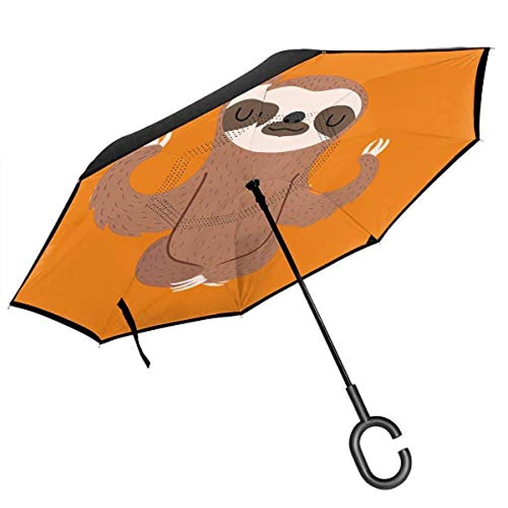 弾丸爆発物プログラム長傘 逆折り式傘 車用傘 閉じると自立可能 耐風 撥水 遮光遮熱 コーティング C型手元 UVカット 8本骨 晴雨兼用 おもしろ ナマケモノ