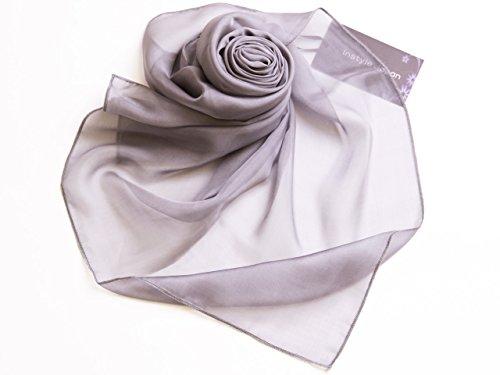 シルク100%スカーフ小さめ【SSサイズ】65×65cmバンダナバッグネッカチーフポケットチーフ首もと暖か選べる23色(ミディアムグレー)絹UV防寒シフォン天然素材[InstyleJapan]