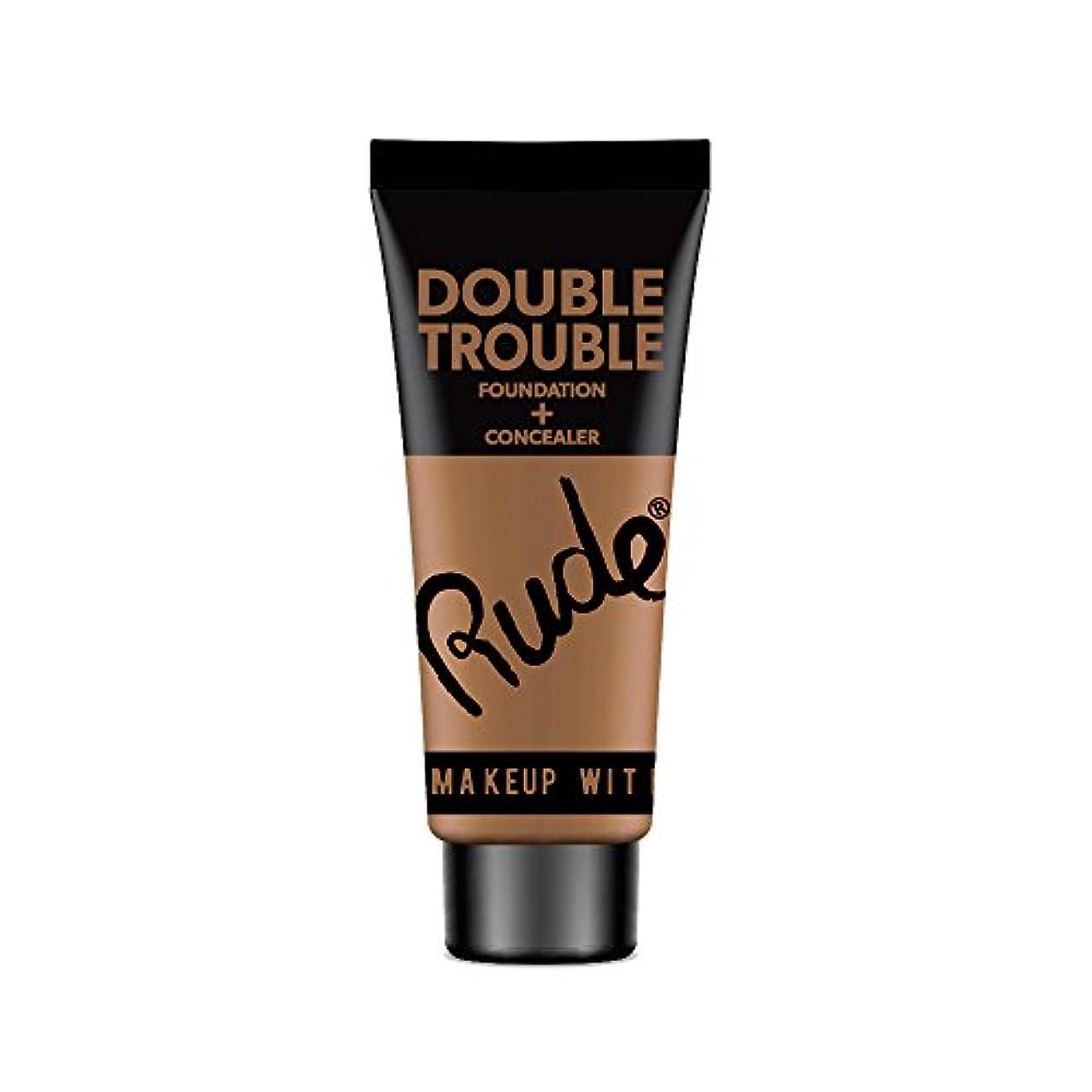 雑草不測の事態吐き出す(3 Pack) RUDE Double Trouble Foundation + Concealer - Espresso (並行輸入品)