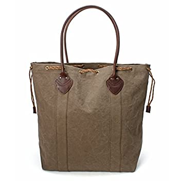 Aging Canvas Drawstrings Tote 2100001665692: Olive