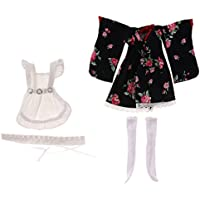 【ノーブランド品】布製 1/6 BJD SD BB人形 用 女の子 5個 花柄和服  白い エプロン ストッキング ドールハウス 子供 贈り物