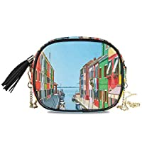 KAPANOU レディース チェーンバッグ,ボートプリントと都市愛都市生活,ミニファッションかわいいデザインショルダーバッグパーソナライズされたカスタムの異なるスタイルの色