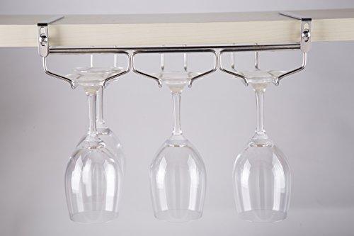 戸棚下ワイングラスハンガー ワイングラスホルダー 吊り棚 ステンレス製 穴あけ不要 ネジ止め不要 ふらふらしない 取り付け工具付き 3レーン